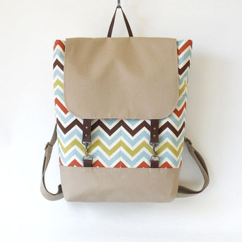 Multi color zigzag / chevron  Backpack , laptop bag, diaper bag with leather closure and 2 front pockets, Design by BagyBags