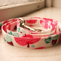 Handmade Dog Leash - Apples - White Pink & Blue - Birds and Acorns - Cute Pet Accessories - Dog Accessory - Fabric Leash - Fabric Dog Leash