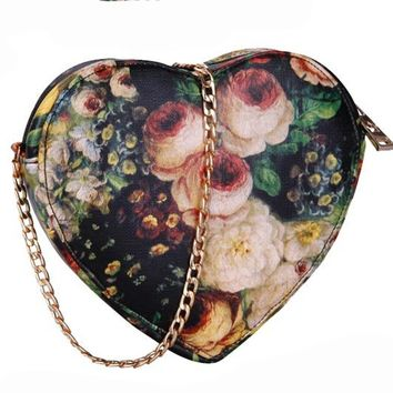 Floral Oil Painting Change Pouch Bag