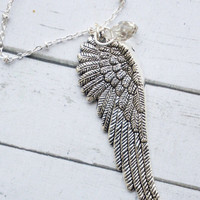 Silver Wing Necklace. Wing necklace with Swarovski Crystal Drop. Angel Wing Necklace