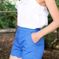 Seeing Spots Scallop Shorts -Royal