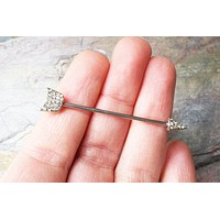 Sparkly Silver Crystalled Arrowhead Industrial Barbell Tribal Arrow Head
