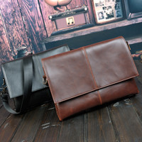 Vintage Mens Cow Leather Crossbody Shoulder Bag
