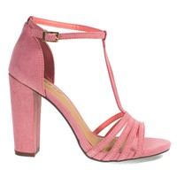 Limelight03M Mauve By Bamboo, Open Toe Sandal, T-Strap Ankle Strap, Chunky Block Heel, Women Shoes