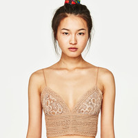 GUIPURE LACE CROP TOP