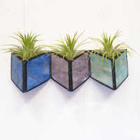 Stained glass Sconce -Air Plant Holder -  Periwinkle Mauve Geometric