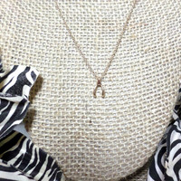 Dainty gold tiny wishbone charm pendant layering choker necklace, gift