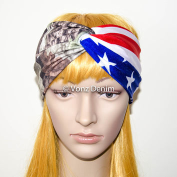 American Flag and Camo Headband, Wide Stretchy Women's Head Wrap, USA Military Turban, 4th of July Hair Band, Patriotic Twisted Headband