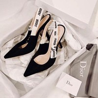 Dior CD ladies sexy pointed patent leather high heels bow women shoes