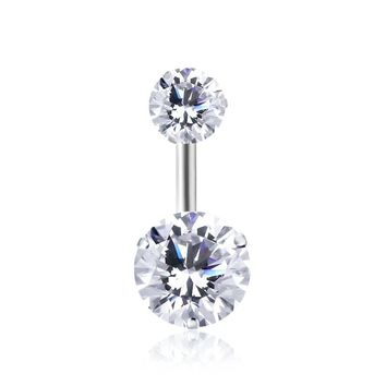 Double Round Geometric Shape Belly Button Ring