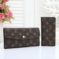 Louis Vuitton fashion full printed letters men and women two-piece clutch bag button wallet key bag Coffee lv print