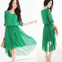 Women's Chiffon Half Sleeve Asymmetrical Hem High Low Long Dress Elastic Wasit