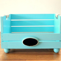 Reclaimed wood Pet Bed, Small Dog or Cat pet furniture Turquoise Blue rope handle ball feet chalkboard plaque name plate, Rustic Beach Decor