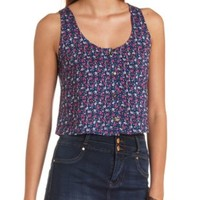 Button-Up Printed Swing Crop Top by Charlotte Russe