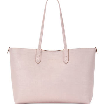 Alexander McQueen Lino Small Embossed Leather Tote Bag, Nude