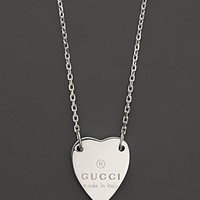 """Gucci Engraved """"Trademark"""" Heart Necklace, 18"""" 