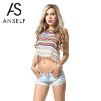 ANSELF 2016 New Harajuku Women Lace Crop Top Geometry Print Halter Neck Strappy Backless T Shirt Women Tops Plus Size T-shirt