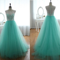 Ball Gown Lace Tulle Prom Dress