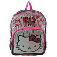 """Hello Kitty 16"""" Large School Backpack Bag Black and Silver"""