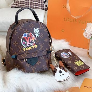 Hipgirls Louis Vuitton LV Fashion New Monogram Print Leather Handbag Book Bag Backpack Bag Wallet Two Piece Suit Bag Women