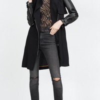 Black Faux Leather Sleeve Belted Trench Coat