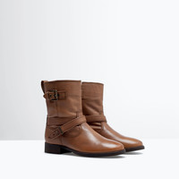 Leather biker ankle boot