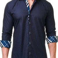 Luxor Jacquard Navy | Dress Shirt by MACEOO