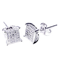 10K White Gold Mens Earrings Diamonds Screw back 6.31mm Wide Pave Iced Out (1/5 cttw, I2/I3 Clarity)