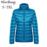 NewBang Women Feather Clothes Stand Collar Regular Portable Ultra Light Down Jacket With Carry Bag Women's Overcoat Plus Size