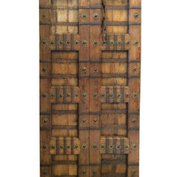 Antique Doors Brass Stars Indian Panels Carved Teak Rustic Architectural