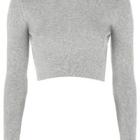 Ribbed Crew Neck Cropped Sweater - Grey Marl