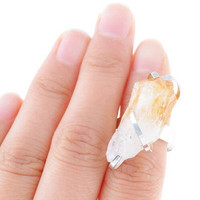 Gold-plated irregular crystal ring