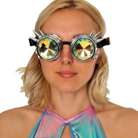 Silver Spiked Burning Man Kaleidoscope Goggles