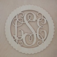 24 inch Connected Wooden Vine Monogram - Circle Scalloped Border unpainted