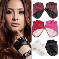 Fashion PU Half Finger Lady Leather Gloves Lady's Fingerless Driving Show Gloves = 1932416260
