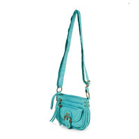 Aqua Faux Leather Crossbody Bag with Buckle