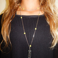 Silver and Yellow Bead Chain Layered Necklace with Black Rock Jar Pendant