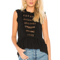 Central Park West Pink Sands Eyelet Top in Black