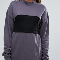 Missguided Sweat Dress With Corset Overlay at asos.com