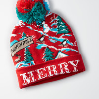 AEO Light Up Beanie, Red
