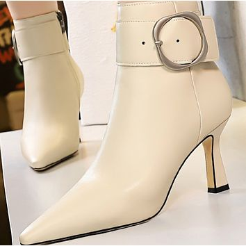 Hot style sells high heel suede pointed buckle ankle boots shoes