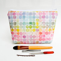 Rainbow Watercolor Makeup Bag - Large Pencil Case - Zipper Pouch - Vintage Color Guide Fabric - Back to School Supply