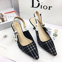 DIOR Fashion New Letter High Heels Personality Shoes Women black