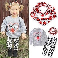 2016 New Autumn Winter Baby Girl Clothes Long Sleeve Hooded Sweatshirt Top XO Pant Trouser 3PCS Outfit Toddler Kids Clothing Set