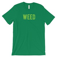 Weed Letters Mens Green T-Shirt