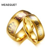 Meaeguet Couple Wedding Ring Queen and King Gold-color Stainless Steel Personalized Engagement Jewelry