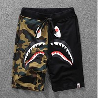 Bape Aape Popular Women Men Leisure Camouflage Shark Mouth Print Sport Running Shorts Black I12036-1