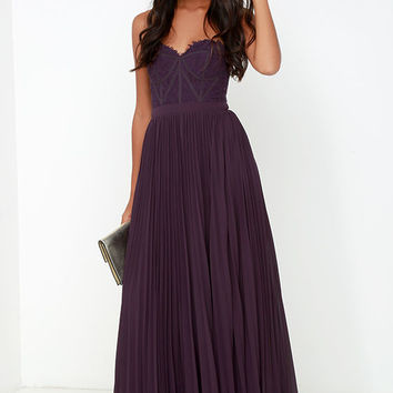 Bariano Come Quick Cupid Purple Strapless Lace Maxi Dress