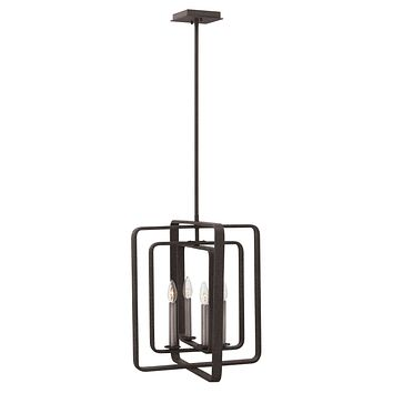 """17""""W Quentin 4-Light Stem Hung Foyer in Aged Zinc"""
