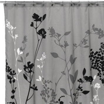 Reflections Gray Fabric Shower Curtain